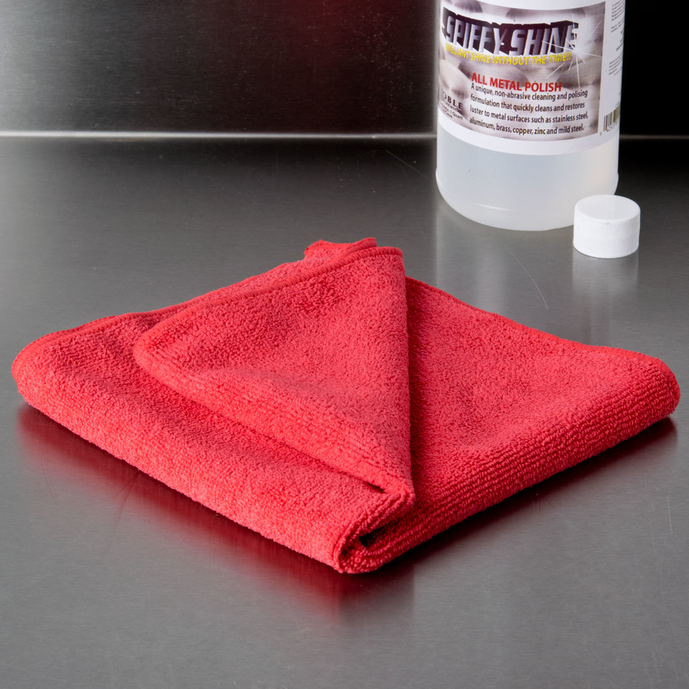"16"" x 16"" Red Microfiber Cleaning Cloth - 12/Pack"
