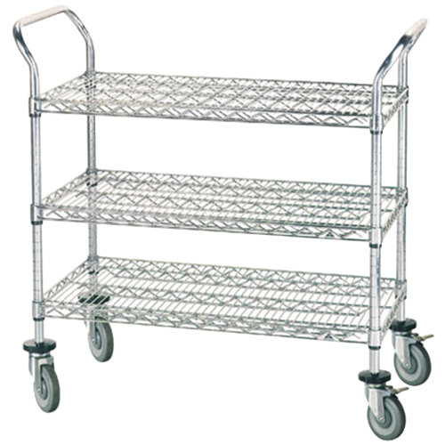 "Advance Tabco WUC-2442R 24"" x 42"" Chrome Wire Utility Cart with Rubber Casters"