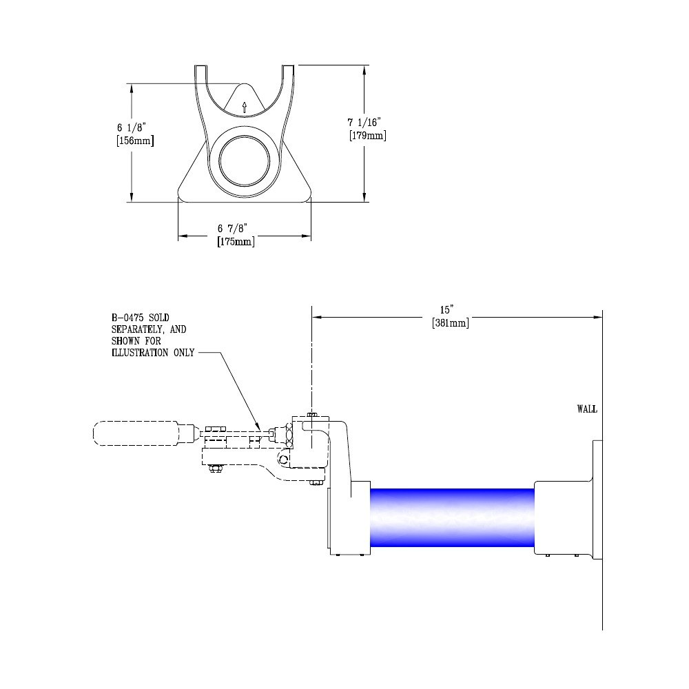 T s b 0477 15 wall support for knee action valve for Knee wall support
