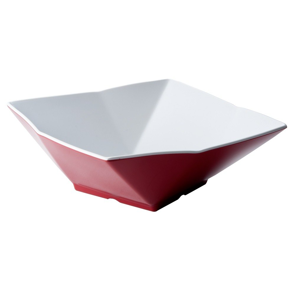 "Tablecraft Frostone MB93RW 9"" Square Angled 1.5 Qt. Red and White Melamine Bowl"