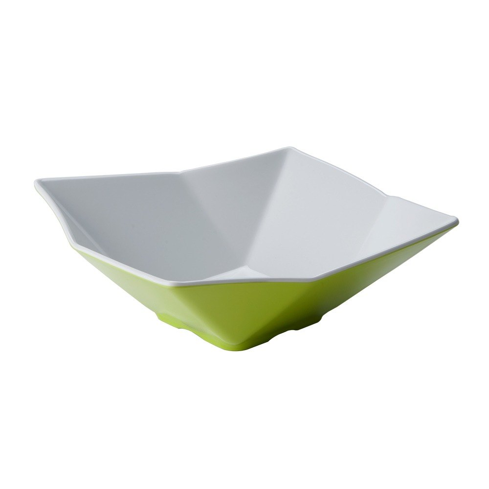 "Tablecraft Frostone MB93GNW 9"" Square Angled 1.5 Qt. Green and White Melamine Bowl"