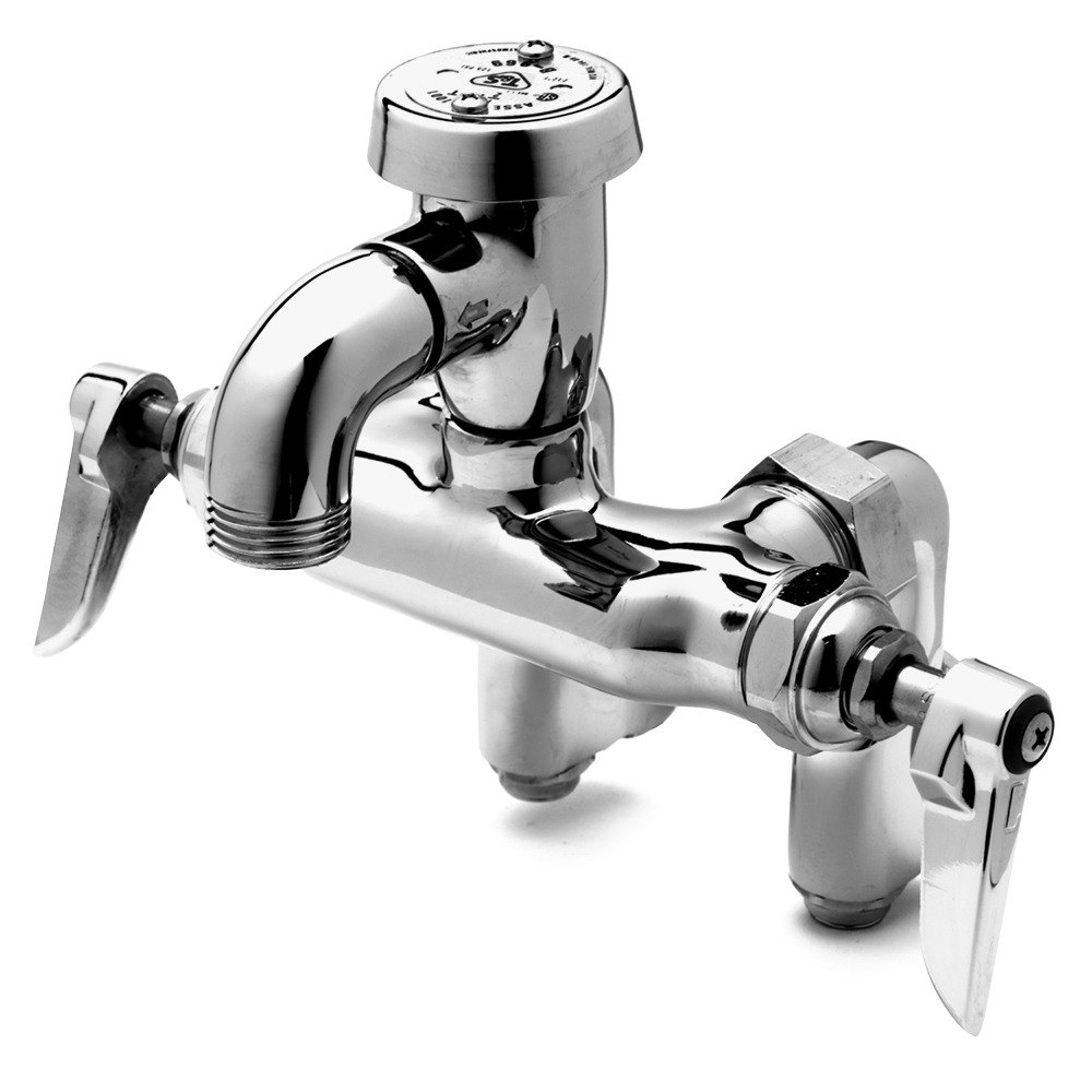 T&S B-0669-RGH Wall Mount Rough Chrome Service Sink Faucet with 4 ...