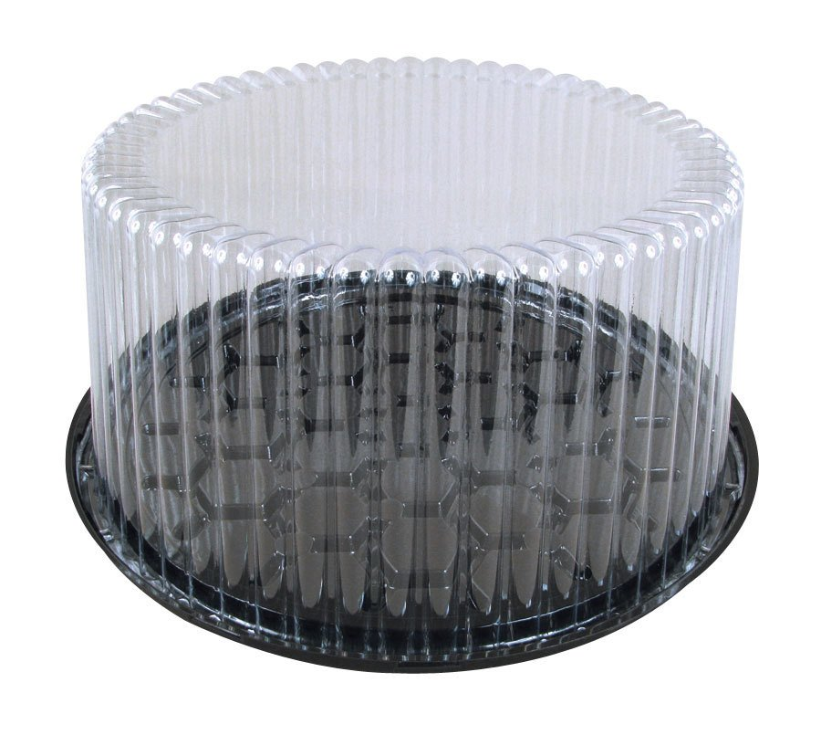 Wilkinson G27 9 inch 2-3 Layer Plastic Cake Display Container with Clear Dome Lid 5 1/4 inchH 10 / Pack