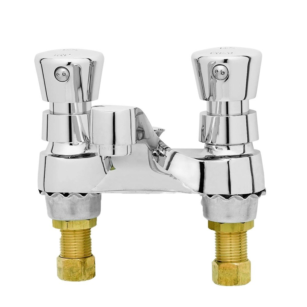 "T&S B-0831-VF05 Vandal Resistant 0.5 GPM Deck Mount Centerset Metering Faucet with 4"" Centers and Push Button Caps"