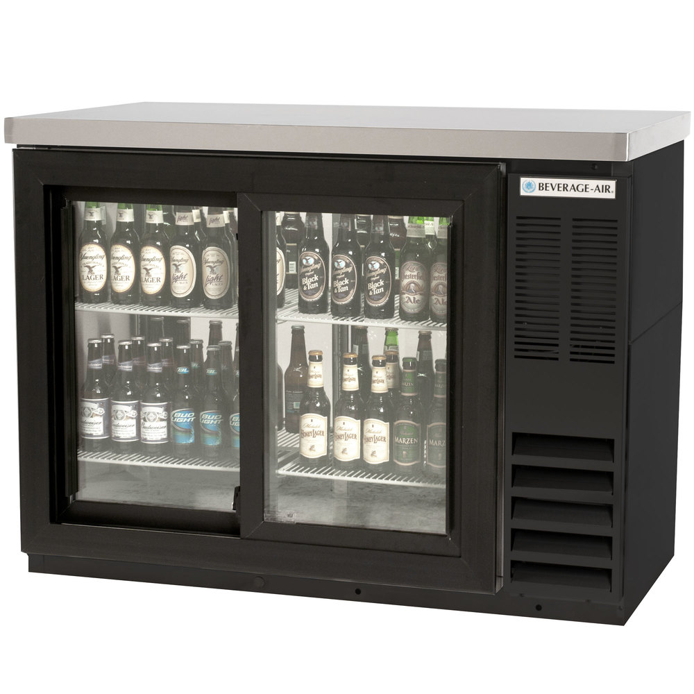 "Beverage Air BB48GSYF-1-B-27-PT-LED 48"" Food Rated Pass-Through Sliding Glass Door Back Bar Refrigerator - Black with Stainless Steel Top"