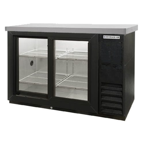 "Beverage Air (Bev Air) BB48GSYF-1-B-27-PT 48"" Food Rated Pass-Thru Sliding Glass Door Back Bar Refrigerator - Black with Stainle at Sears.com"