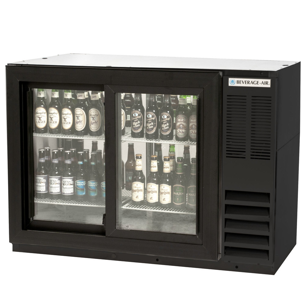 "Beverage Air BB48GSYF-1-B-PT-LED 48"" Food Rated Pass-Through Sliding Glass Door Back Bar Refrigerator - Black"