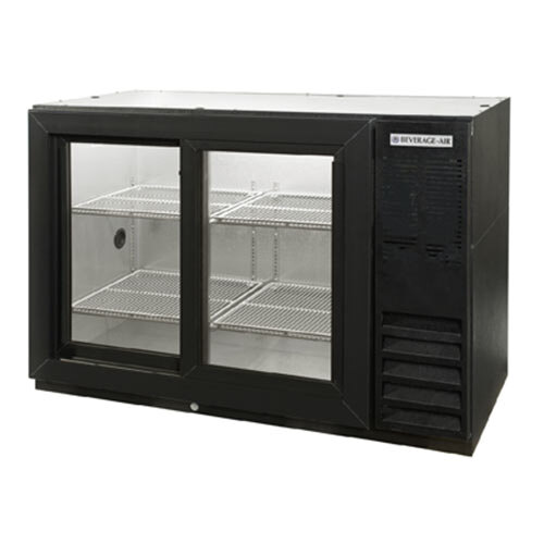 "Beverage Air (Bev Air) BB48GSYF-1-B-PT 48"" Food Rated Pass-Thru Sliding Glass Door Back Bar Refrigerator - Black at Sears.com"