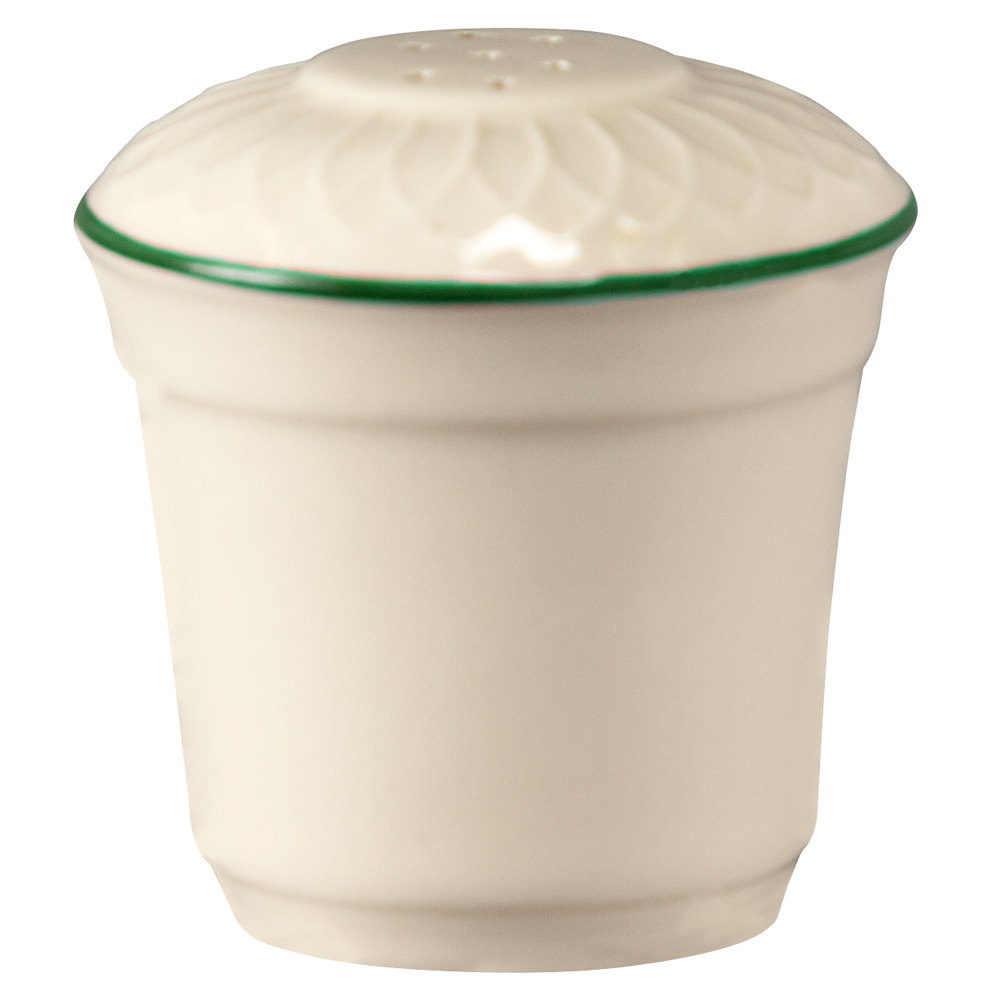 "Homer Laughlin 1430-0321 Green Jade Gothic Off White 2 3/4"" China Salt Shaker - 36/Case"