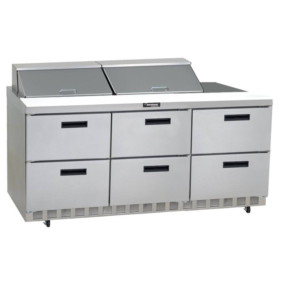 "Delfield UCD4472N-24M 72"" 6 Drawer Mega Top Reduced Height Refrigerated Sandwich Prep Table"