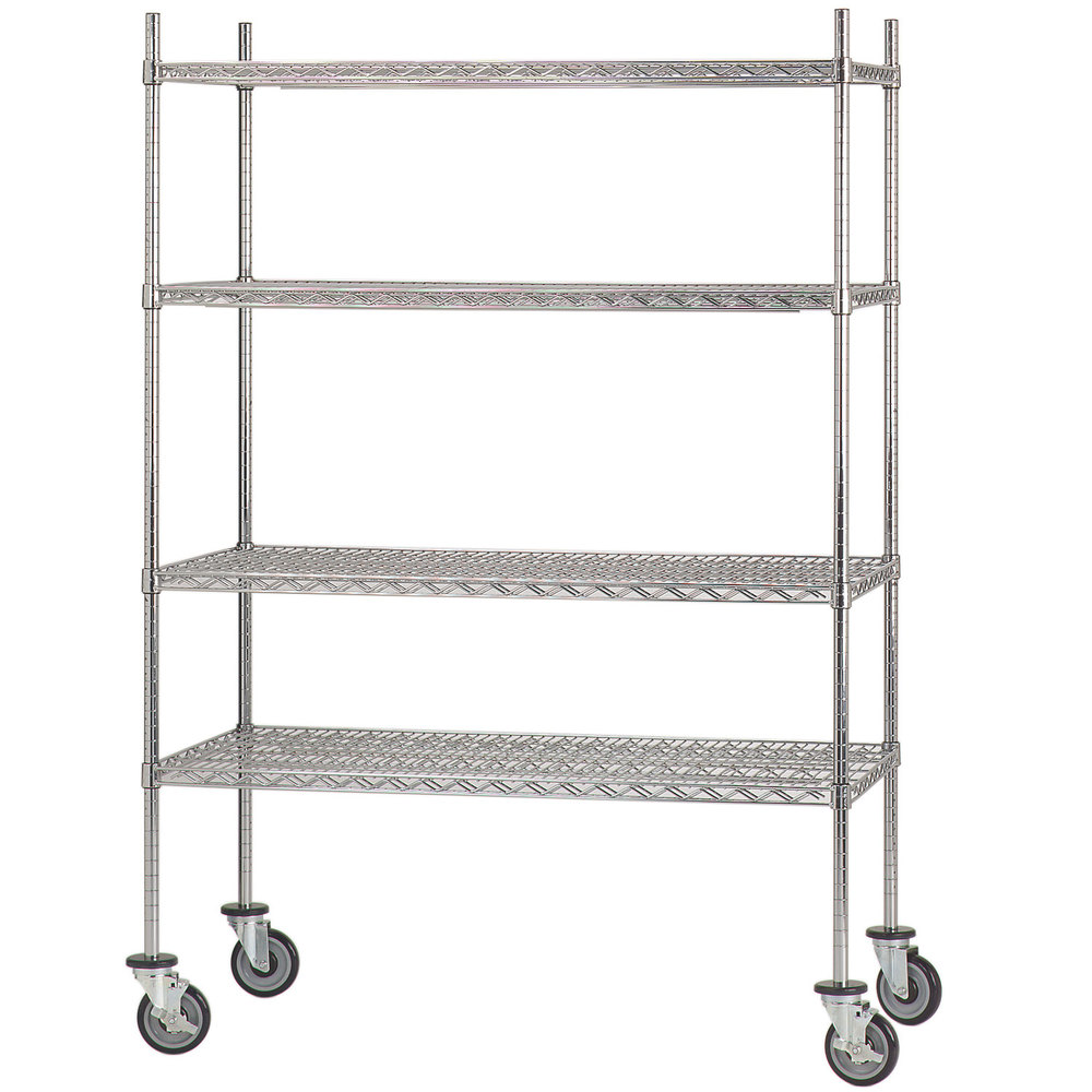 Advance Tabco MC-1848R Chrome Plated Mobile Wire Shelving Unit with ...