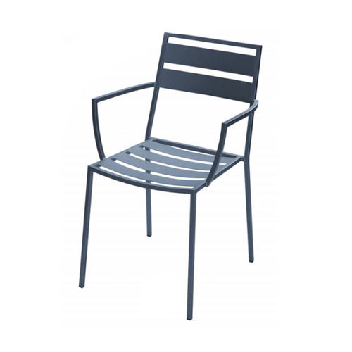 BFM Seating Alexa DV280A Wrought Iron Outdoor Stackable Chair with Arms - Anthracite Finish at Sears.com