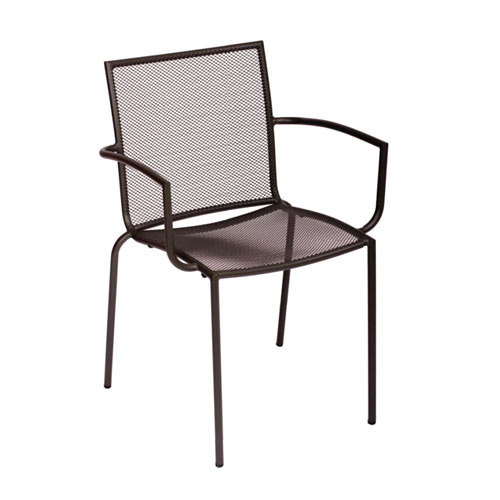 BFM Seating Abri DV548A Wrought Iron Outdoor Stackable Mesh Chair With Arms