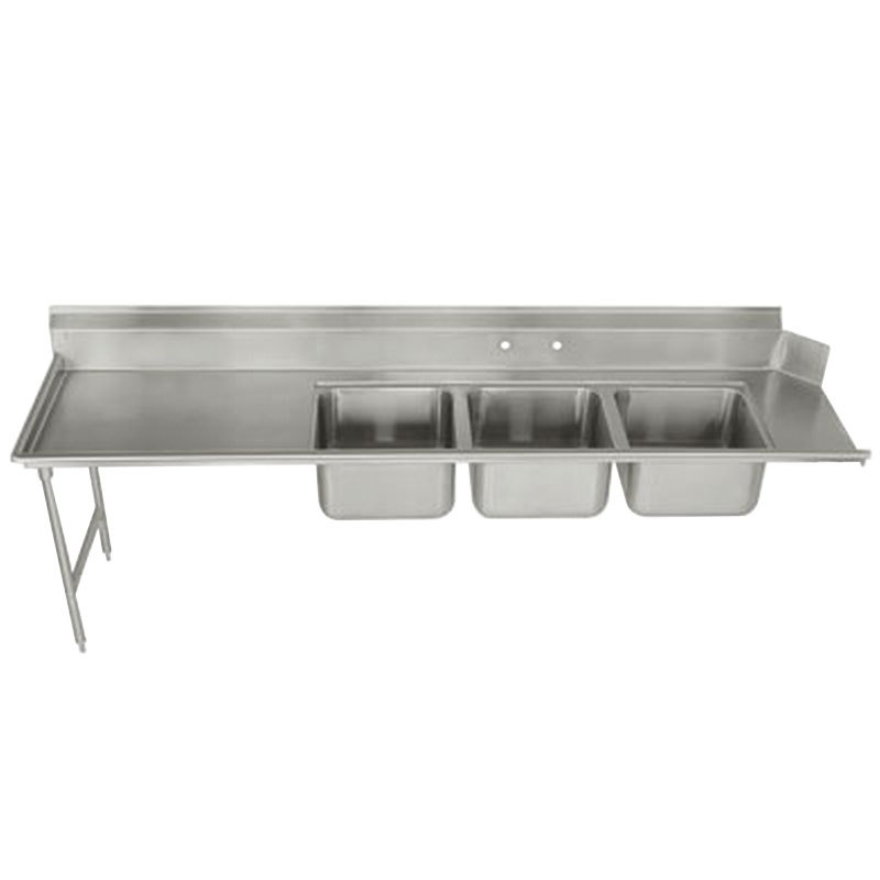 "Advance Tabco DTC-3-1620-84 7' Stainless Steel Soil Straight Dishtable with 3-Compartment Sink - 16"" x 20"" Bowls"