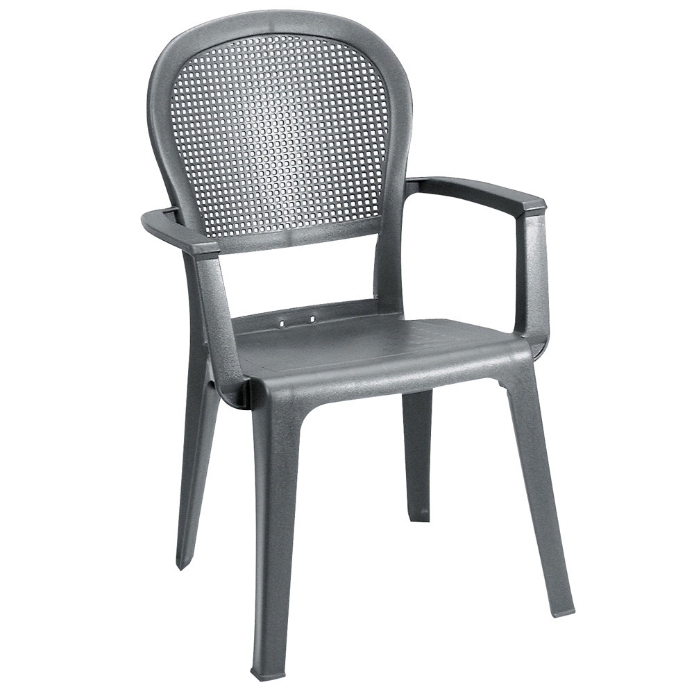 Grosfillex Seville Highback Stacking Resin Armchair - Charcoal