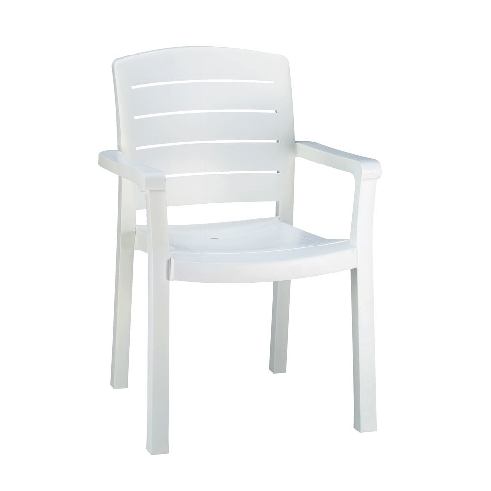 Grosfillex 46119004 / US119004 Acadia White Classic Stacking Resin Armchair
