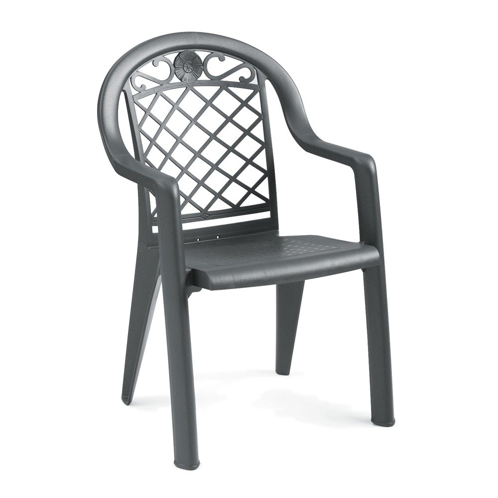 Grosfillex Savannah Highback Stacking Resin Armchair - Charcoal