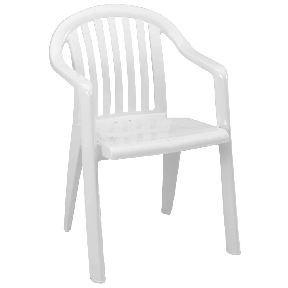 Grosfillex Miami Lowback Stacking Resin Armchair - White