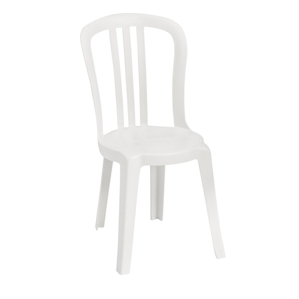 Grosfillex us495504 us495004 miami bistro white outdoor stacking resin sidechair - White resin stacking chairs ...