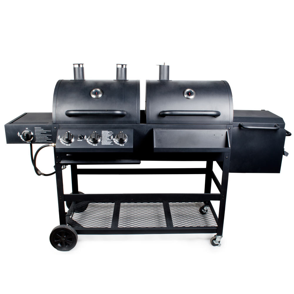 backyard pro portable outdoor gas and charcoal grill smoker assembled. Black Bedroom Furniture Sets. Home Design Ideas