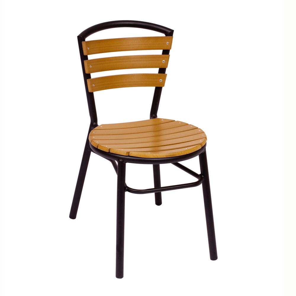 BFM Seating MS308STKBL Norden Stackable Outdoor Chair Synthetic Teak And Bl