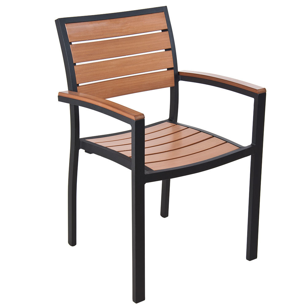 BFM Seating PH101CTKBL Largo Stackable Outdoor Teak Chair With Arms Black F