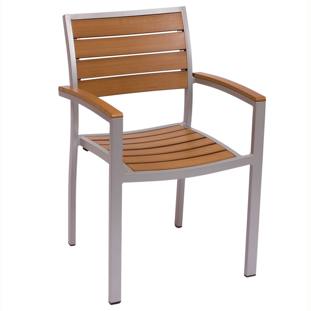 BFM Seating PH101CTKSV Largo Stackable Outdoor Teak Chair With Arms Silver