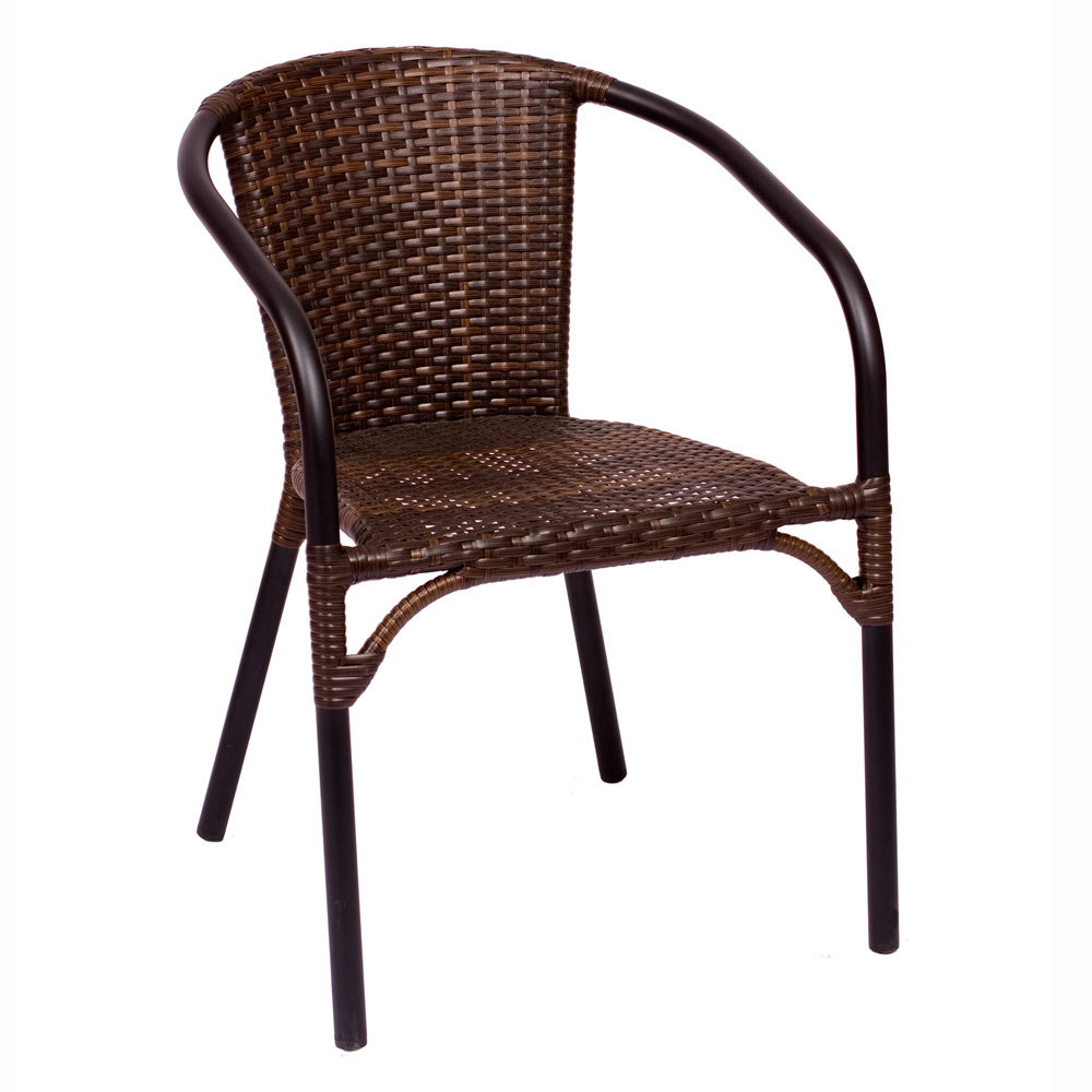BFM Seating MS11CBBBL Marina Stackable Outdoor Brown Wicker Chair With Arms A
