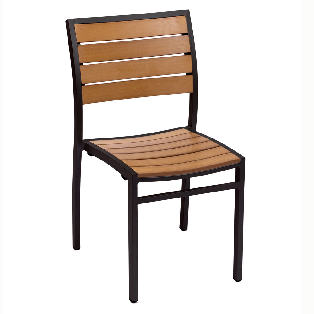 BFM Seating PH102CTKBL Largo Stackable Outdoor Teak Chair Black Frame