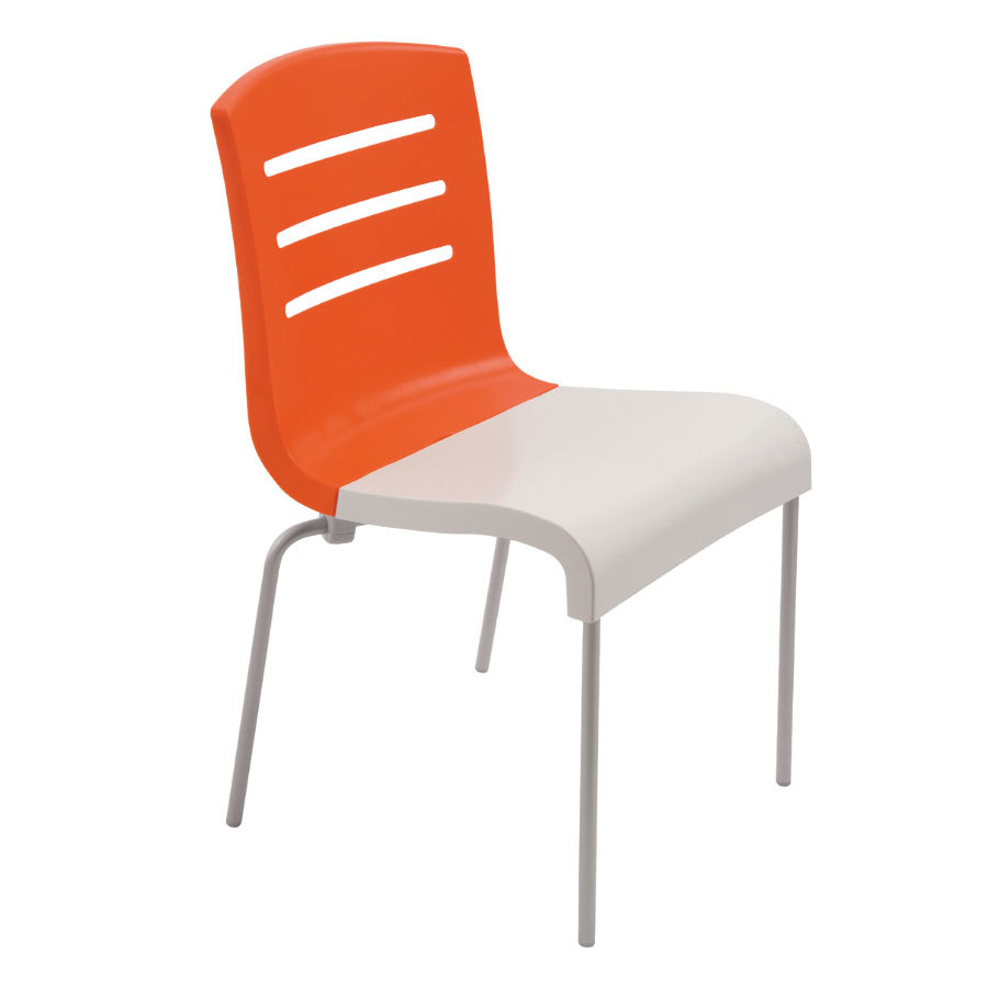 Grosfillex us041019 domino indoor stacking resin chair with orange back and white seat 4 pack - White resin stacking chairs ...