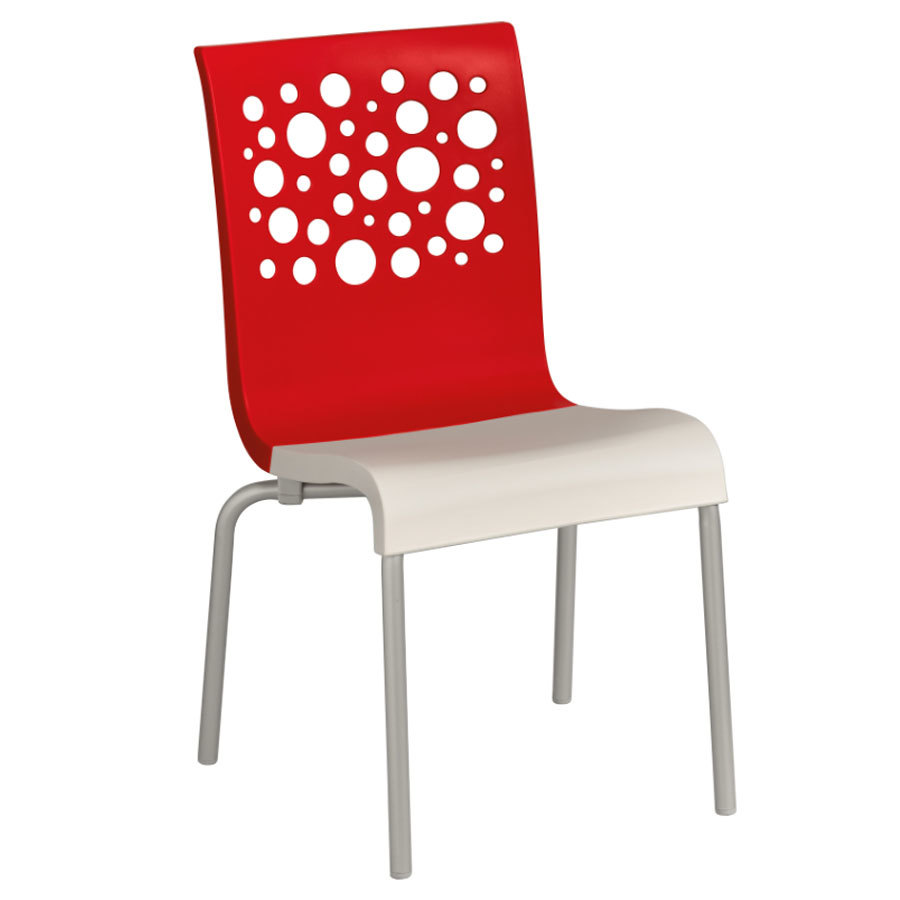 Lightweight stackable chairs - Domenica Lightweight Stackable Side Chair With Aluminum Legs Red U003cspan Class