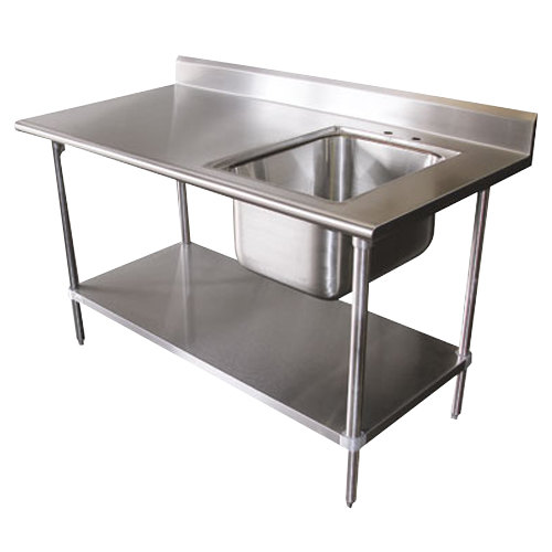 Stainless Sink Table : ... Tabco KMS-11B-306 Stainless Steel Work Table with Sink 30