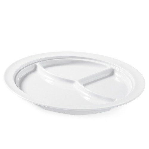 "GET CP-531-W White 10"" SuperMel Three Compartment Plate - 12/Case"