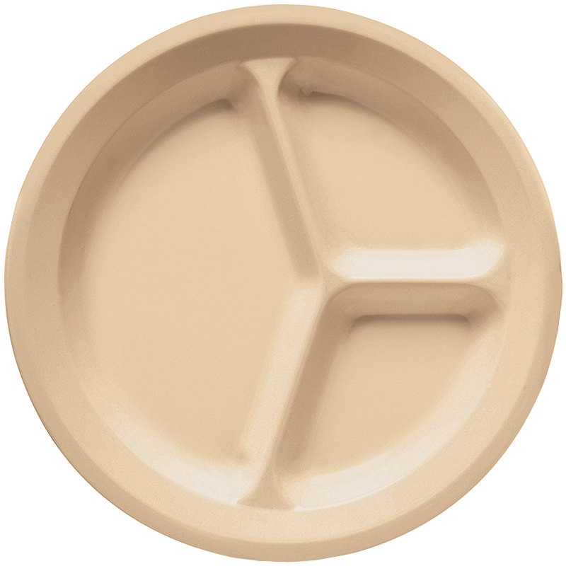 "GET CP-532-T Tan 11"" SuperMel Three Compartment Plate - 12/Case"