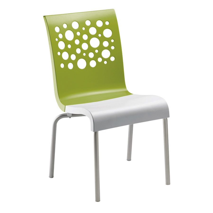 Grosfillex tempo resin indoor stacking chair fern green back white seat - White resin stacking chairs ...