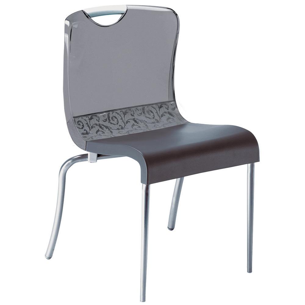 Grosfillex Krystal Resin Indoor Stacking Chair Smoke