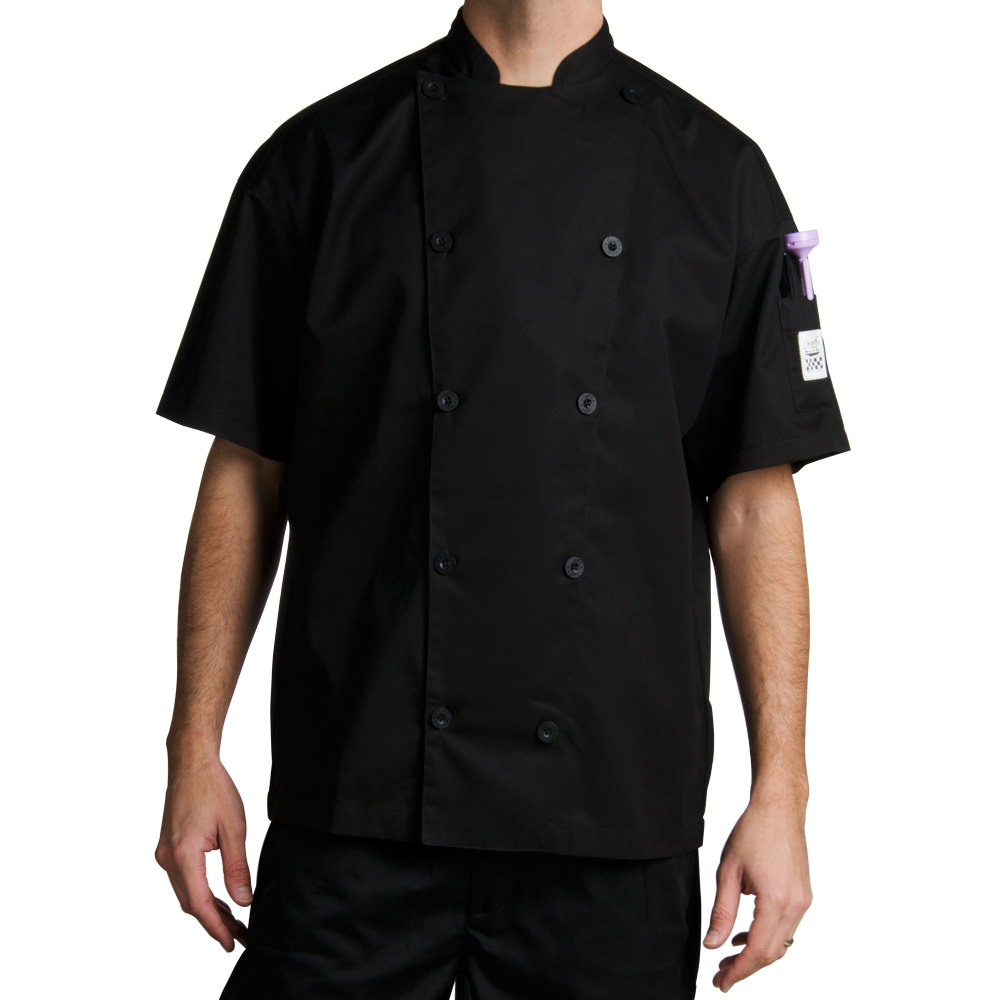 Chef Revival J045BK-5X Chef-Tex Size 64 (5X) Black Customizable Poly-Cotton Traditional Short Sleeve Chef Jacket