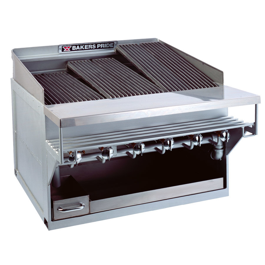 "Bakers Pride CH-6GS 33"" 6 Burner Heavy Duty Glo-Stone Charbroiler - 108,000 BTU"