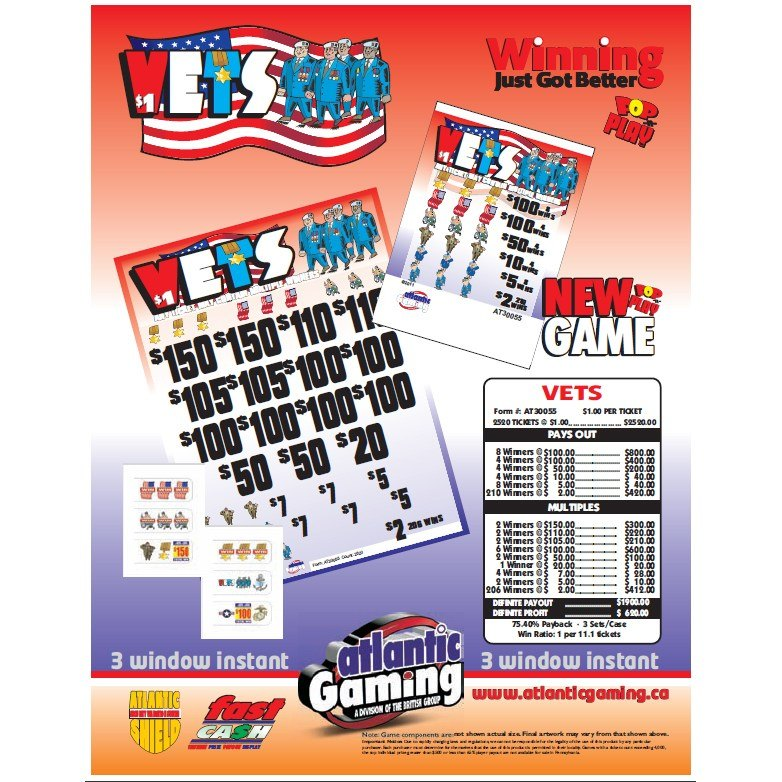 """""""Vets"""" 3 Window Pull Tab Tickets - 2520 Tickets Per Deal - Total Payout: $1,900 at Sears.com"""