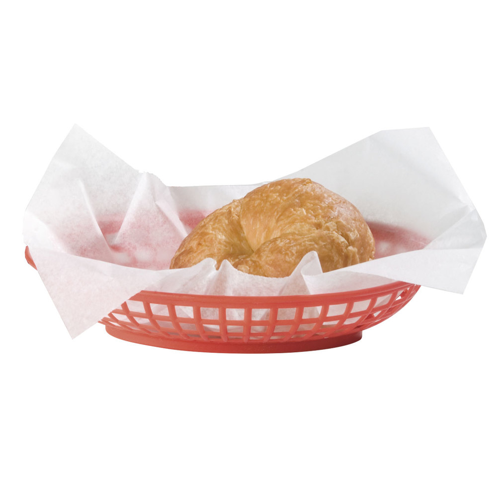 "Carlisle 033305 Oval 9"" x 6"" Red Plastic Fast Food Basket - 36 / Case"