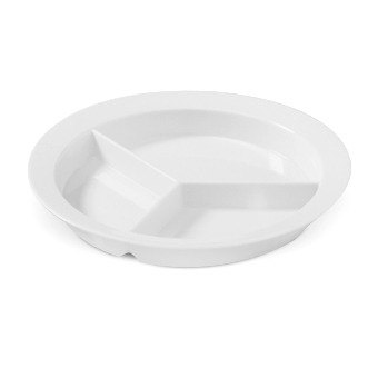 "GET P-1530-W White 9"" SuperMel Deep Three Compartment Plate - 12/Case"