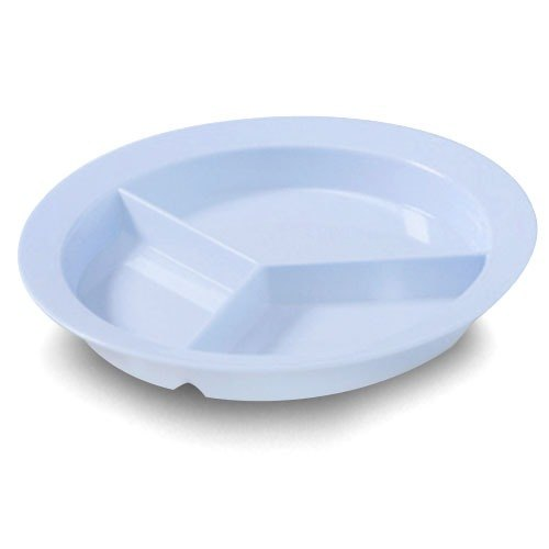 "GET P-1530-SB Slate Blue 9"" SuperMel Deep Three Compartment Plate - 12/Case"