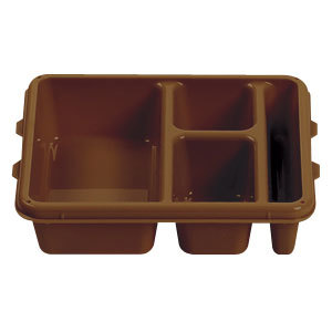 "Cambro 9113CP167 9"" x 11"" Brown 3 Compartment Meal Delivery Tray - 24/Case"