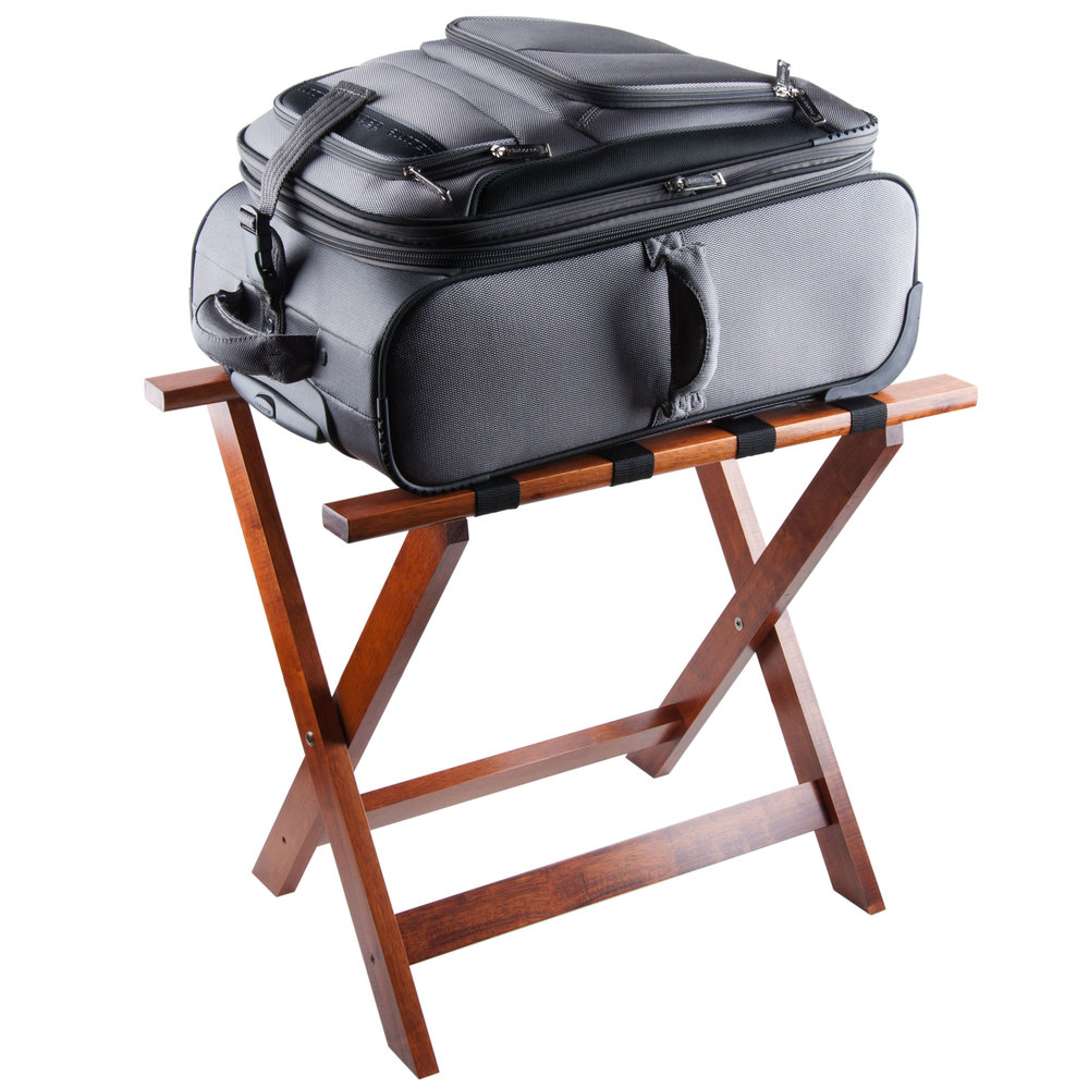 Wood Folding Flat Top Bulk Luggage Rack with Light Finish and Brown Straps