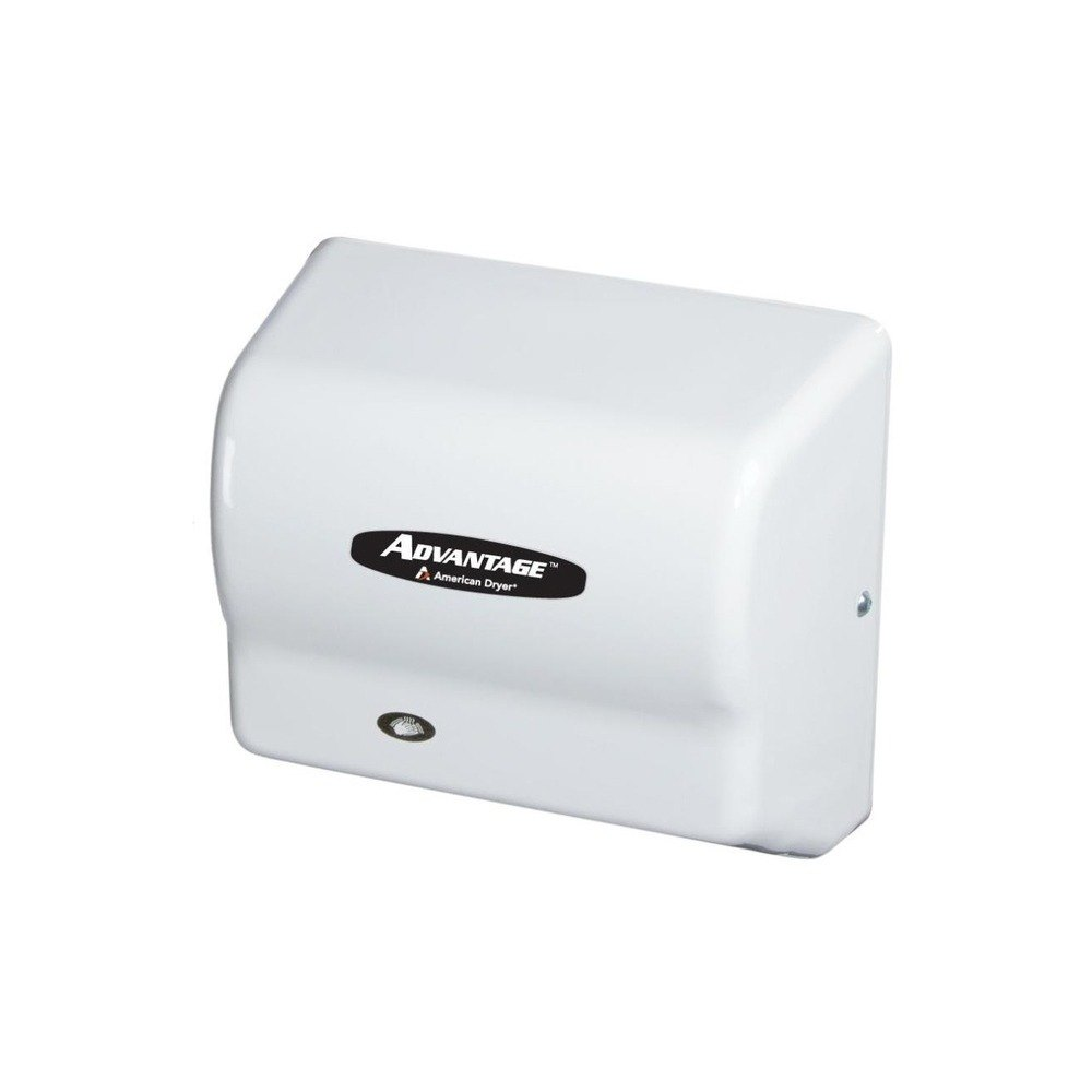 American Dryer AD90 Advantage Series Automatic Hand Dryer with White ABS Cover - 100-240V, 1250-1400W