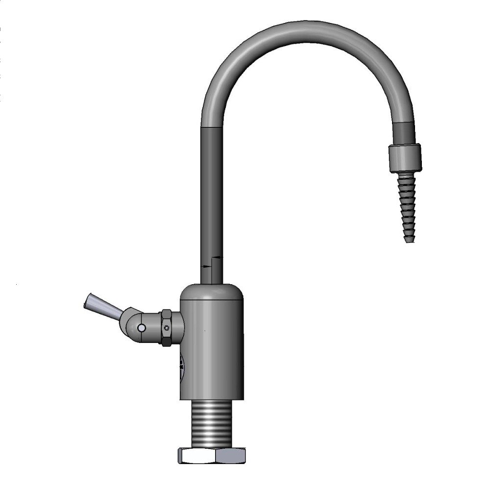 "T & S Brass and Bronze Works T&S BL-9515-02 Gray Deck Mount PVC Single Ledge Distilled / Deionized Water Faucet with 11 7/8"" Rigid Gooseneck, Serrated Tip, a at Sears.com"