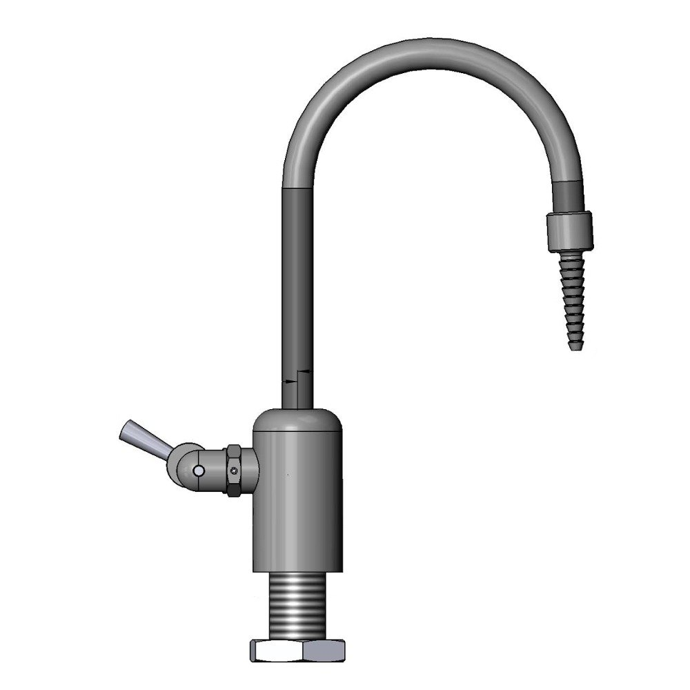 "T & S Brass and Bronze Works T&S BL-9515-03 Gray Deck Mount PVC Single Ledge Distilled / Deionized Water Faucet with 11 7/8"" Rigid Gooseneck, Serrated Tip, a at Sears.com"
