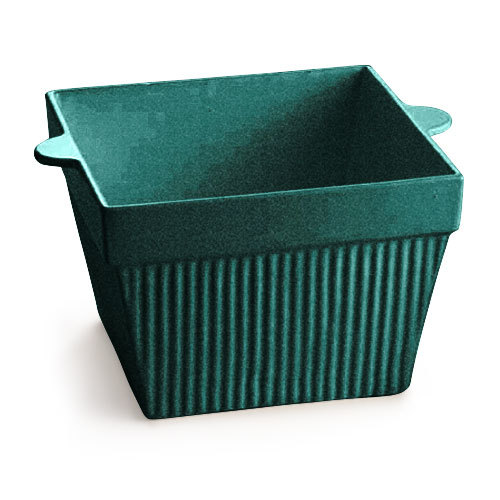 Tablecraft CW1480D 18 oz. Hunter Green with White Speckle Cast Aluminum Square Condiment Bowl