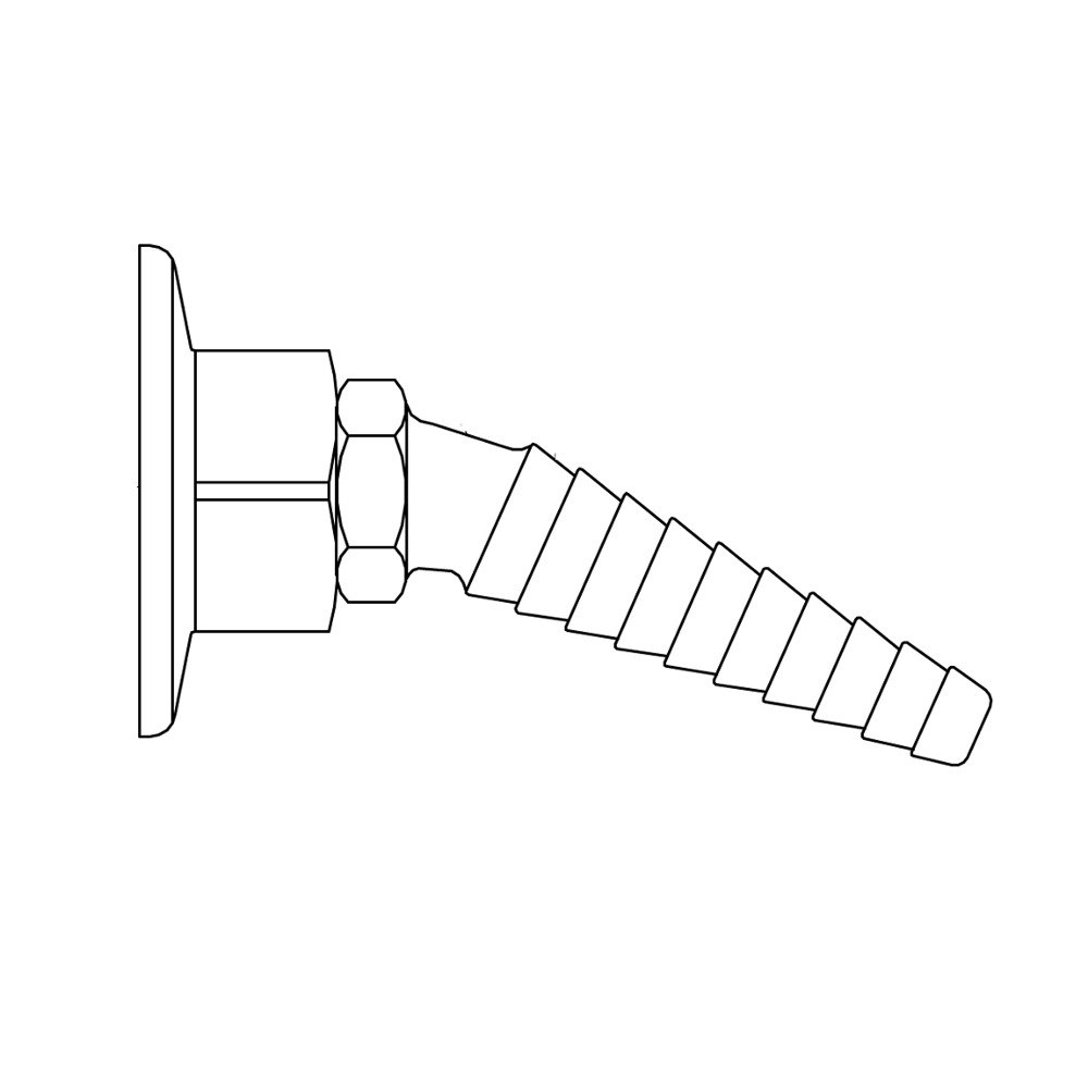 T&S BL-9550-01WH White Universal Panel Flange with Angled Serrated Tip