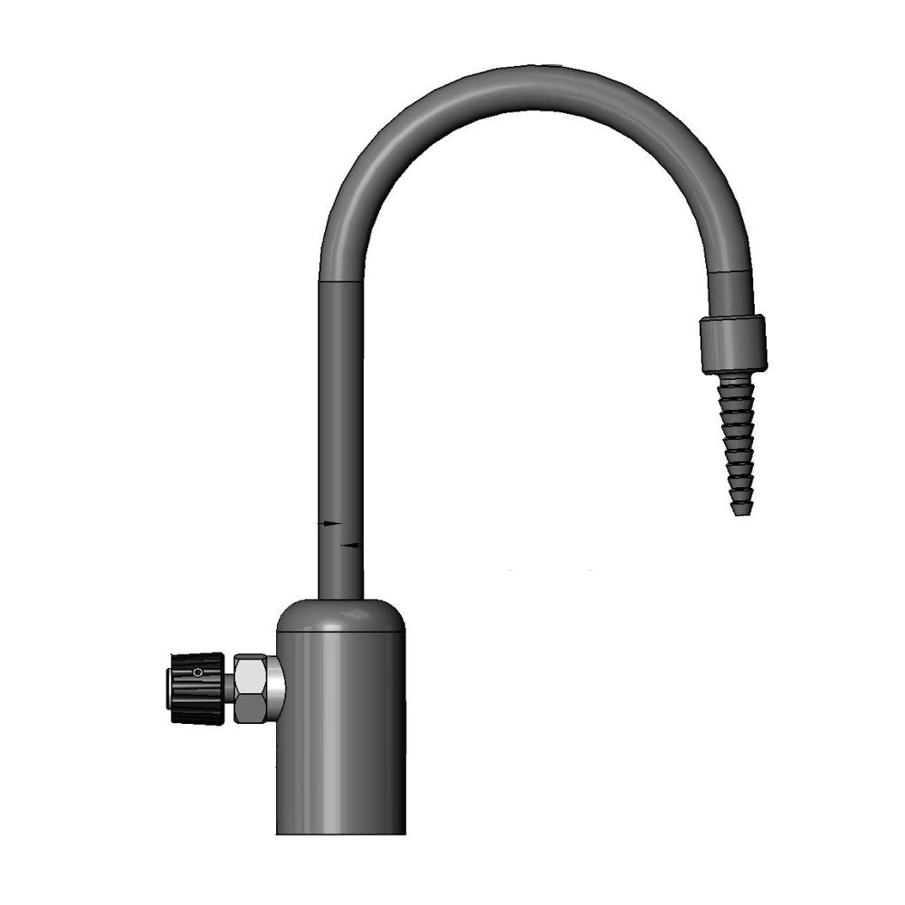 "T & S Brass and Bronze Works T&S BL-9505-02 Gray Deck Mount PVC Single Ledge Distilled / Deionized Water Faucet with 11 7/8"" Rigid Gooseneck, Serrated Tip, a at Sears.com"